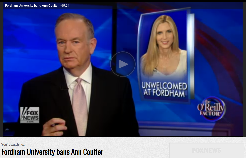 Bill O'Reilly, Ann Coulter, Fordham Screenshot