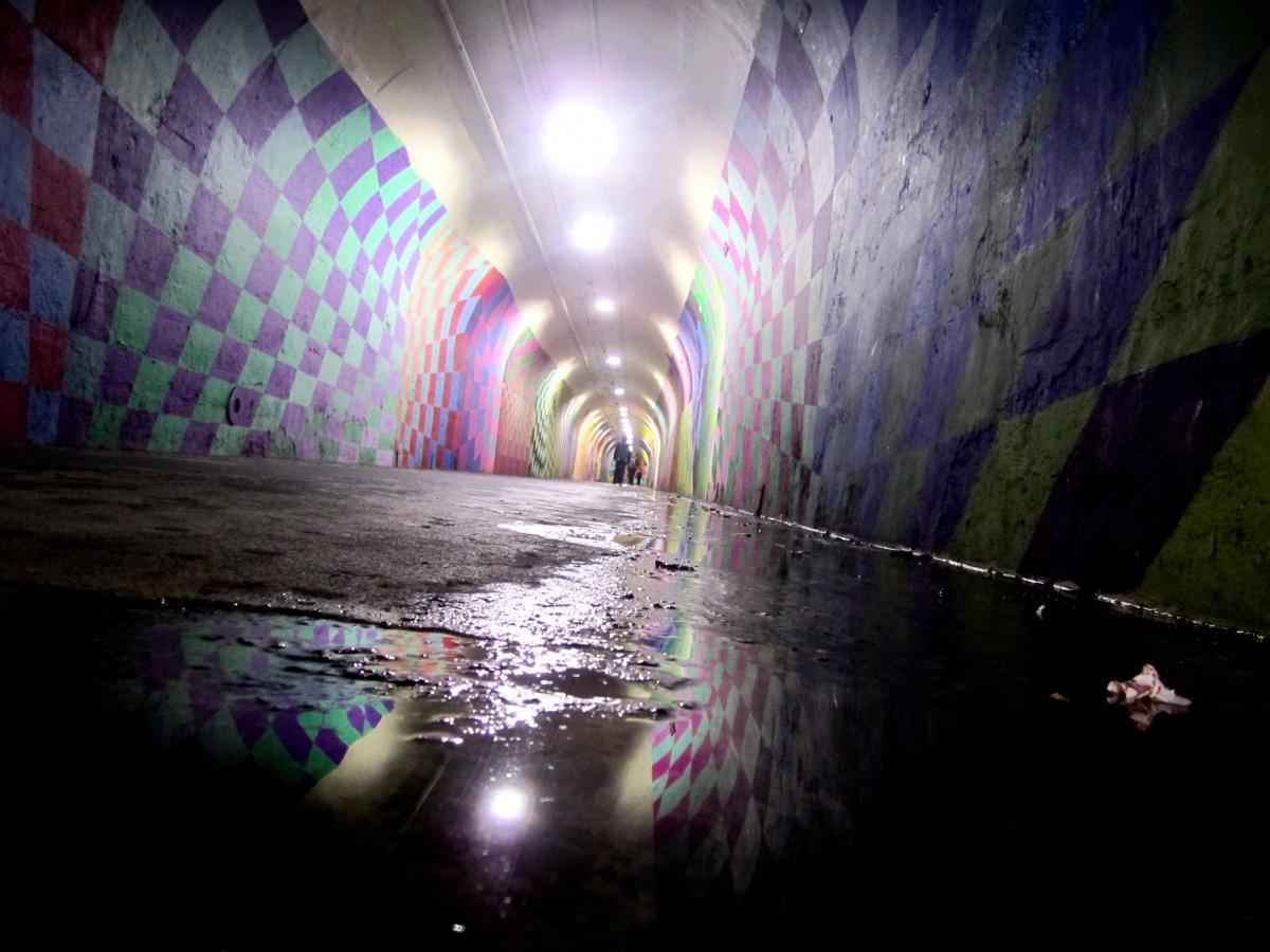 The W 191st Street Subway Station's graffiti tunnel is reflected in a puddle. (Juliet Altmann/The Observer)