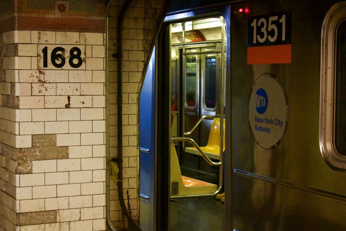 A 1 train subway car arrives at the 168th station. (Jessica Hanley/ The Observer)