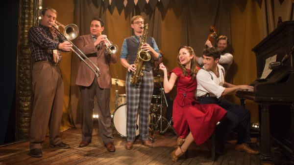 "Pictured left to right: ""Bandstand"" cast members Geoff Packard, Joey Pero, James Nathan Hopkins, Laura Osnes, Corey Cott and Brandon J. Ellis. (PHOTO COURTESY OF JEREMY DANIEL)"