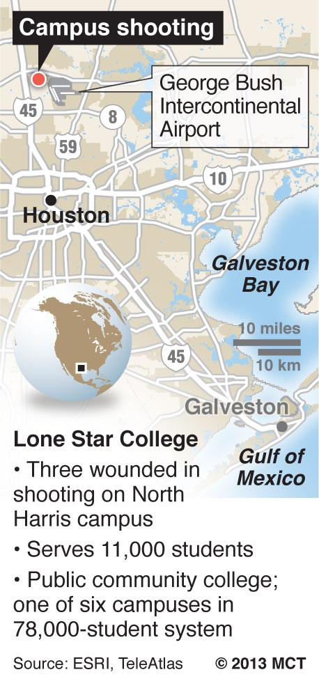 Map locates site of Lone Star College North Harris campus near Houston, Texas, where a shooting incident took place. (MCT 2013)