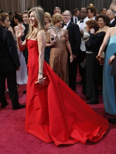 Jennifer Aniston arrives at the 85th annual Academy Awards at the Dolby Theatre at Hollywood & Highland Center in Los Angeles, California, Sunday, February 24, 2013. (Wally Skalij/Los Angeles Times/MCT)