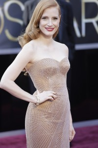 Jessica Chastain arrives at the 85th annual Academy Awards at the Dolby Theatre at Hollywood & Highland Center in Los Angeles, California, Sunday, February 24, 2013. (Jay L. Clendenin/Los Angeles Times/MCT)
