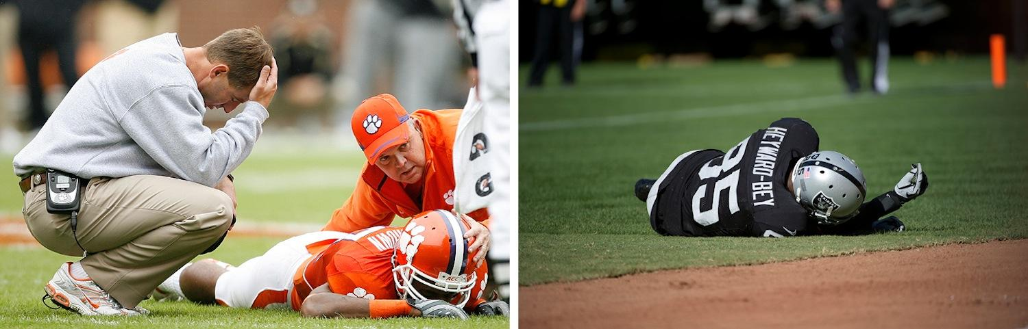 Long term effects of football injuries show we must be more proactive about enacting policies to keep athletes safe both in college football teams like Clemson and NFL teams. (Left to right: Lionel Hahn/Abaca Press/MCT;Hector Amezcua/Sacremento Bee/MCT)