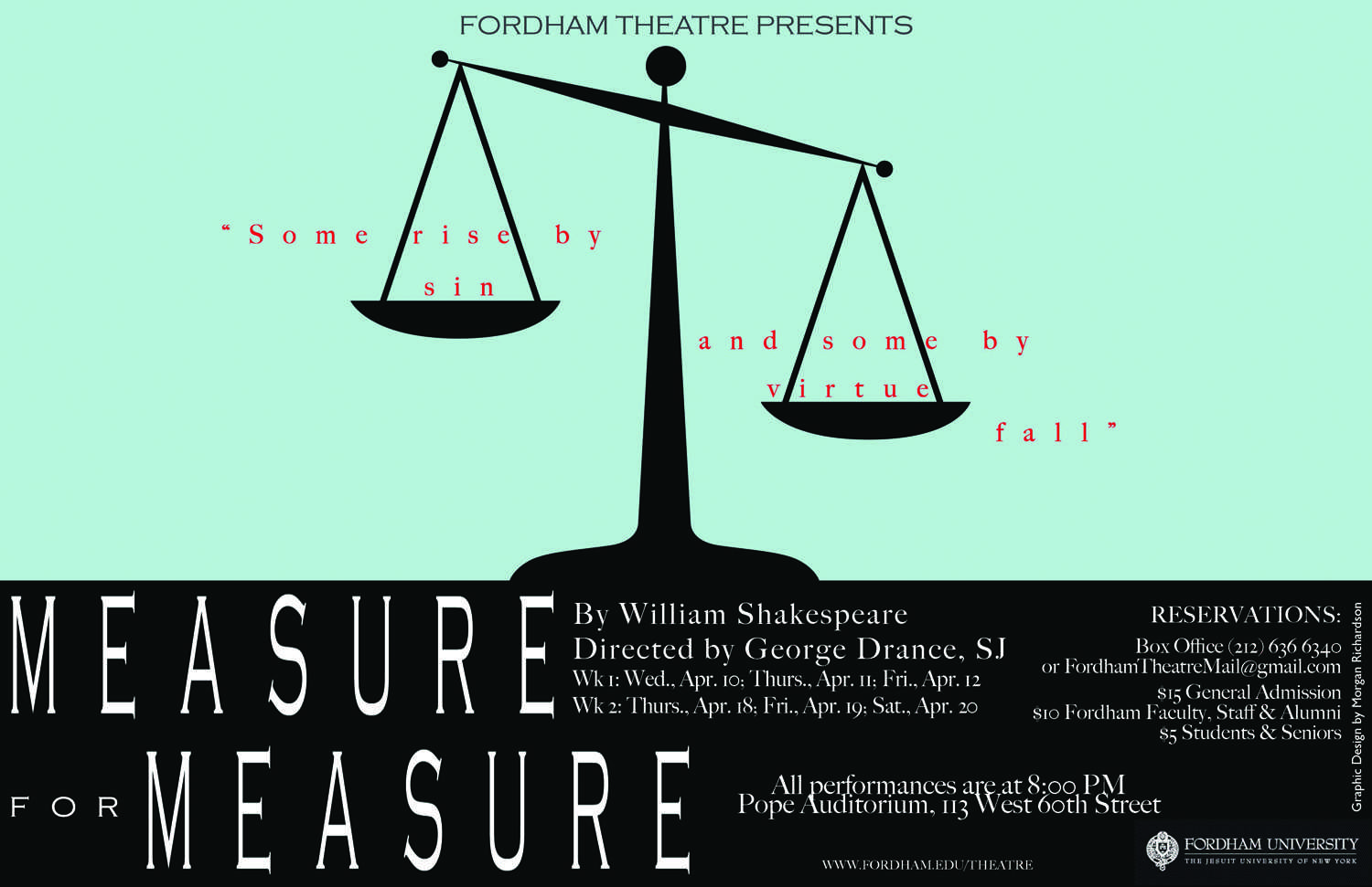 """The promotional poster for """"Measure for Measure,"""" a Shakespeare play and the latest mainstageproduction by the Fordham theater department. (Courtesy of Morgan Richardson)"""
