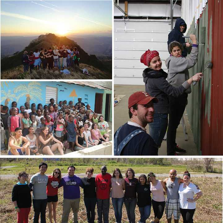 Spring break GO! project teams shown clockwise from top left: GO! Nicaragua, GO! Waynesburg, GO! New Orleans and GO! Dominican Republic. (Courtesy of GO! Team Members)