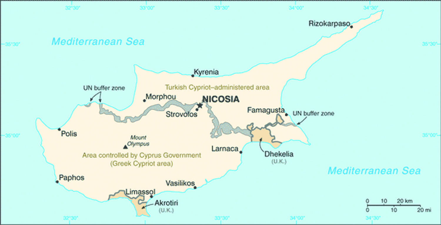 Once known as an off-shore banking paradise, Cyprus is now barely maintaining its status in the eurozone. (Courtesy of CIA/Wikimedia Commons)