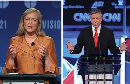 Republicans Meg Whitman (left) and Jon Huntsman (right) are now in support of gay marriage. (Eric Paul Zamora/Fresno Bee/MCT; Olivier Douliery/Abaca Press/MCT).