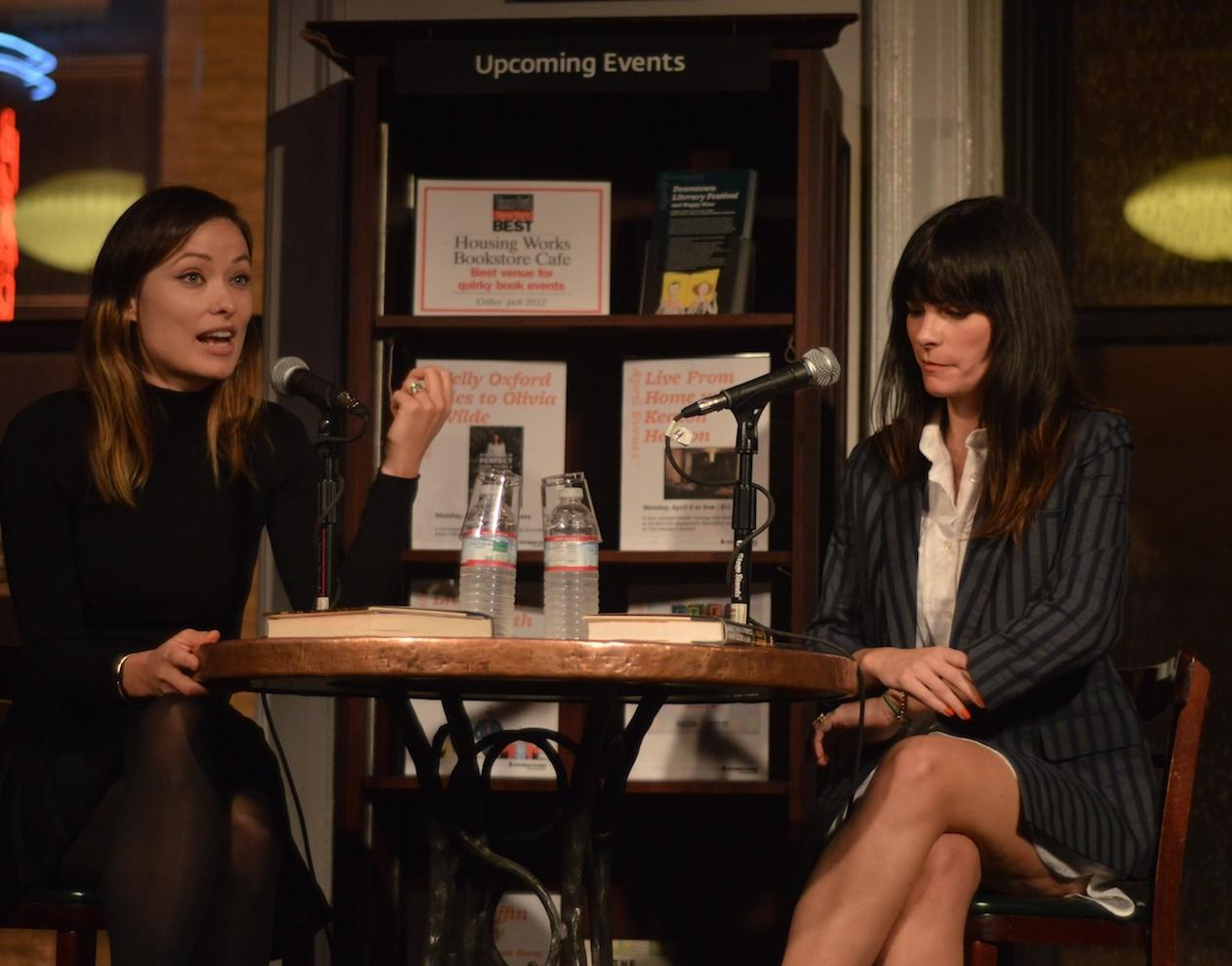 """Olivia Wilde, left, and Kelly Oxford, right, discuss Oxford's book """"Everything is Perfect When You're a Liar,"""" at Housing Works Bookstore Cafe on April 1. (Ian McKenna/The Observer)"""