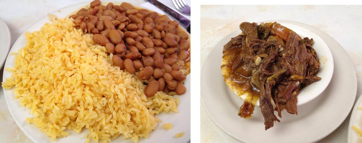 Left: Every entrée comes with a large plate of rice and beans. Right: Known as ropa vieja, the shredded beef is stewed with tomatoes, potatoes and an amalgam of savory spices. (Rex Sakamoto/The Observer)