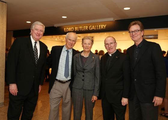 The Butlers (center) with the Rev. Robert R. Grimes, S.J., dean of FCLC, the Rev. Joseph McShane, S.J., president of Fordham University, and Professor Joseph Lawton, visual arts program director (Courtesy of Guillaume Roemaet).