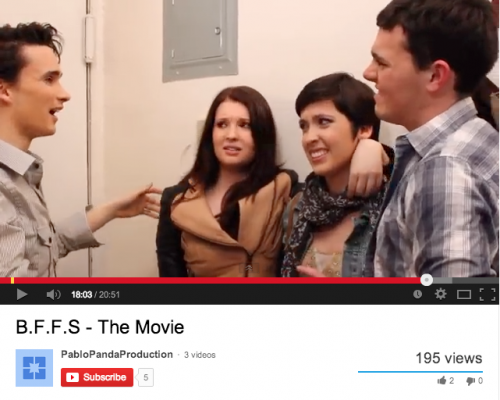 """Dylan Ungretta, FCLC' 15, Victoria Oliver, FCLC' 15, Caitlin Ronan, FCLC' 15 and Gregg Ellson, FCLC' 14 in a scene from """"B.F.F.s."""" (Courtesy Youtube)"""