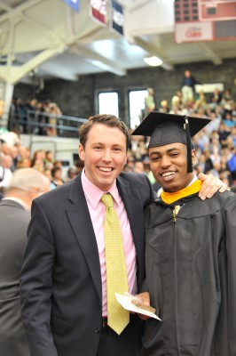 Close friend and Fordham alum Dan Devine with Kidanemariam on his graduation day.