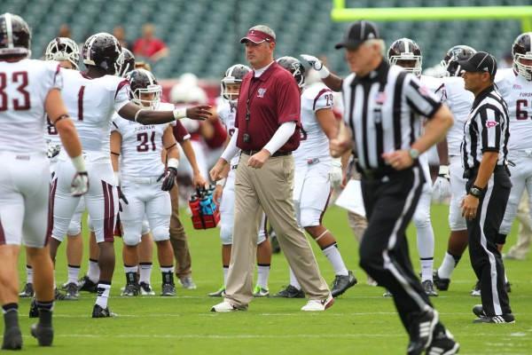 Coach Joe Moorhead and his players are poised as the favorites to win the Patriot League title this upcoming season.