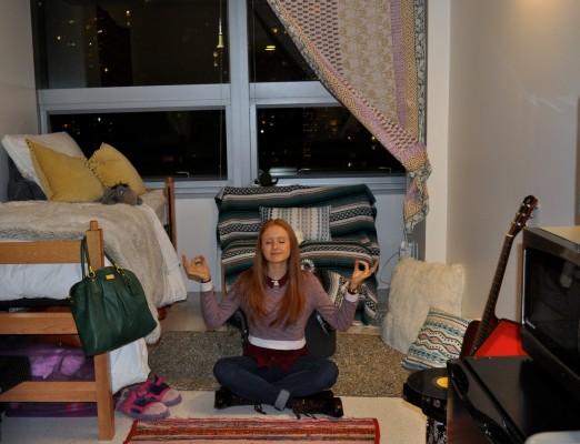 Savannah Sturgeon is at peace in her dorm room in McKeon Hall. (Jessica Hanley/ The Observer)