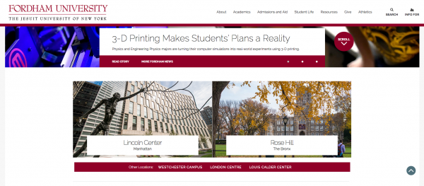 Fordham's new homepage features staples from both campuses, like FCLC'S St. Peter the Fisherman statue. (Courtesy of fordham.edu)