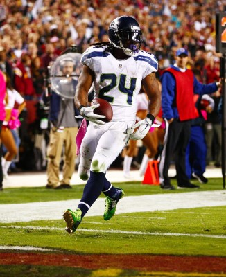 Seattle Seahawks running back Marshawn Lynch scores a touchdown against the Redskins. (John Lok/Seattle Times/MCT)