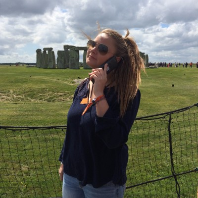 Mary learns about Stonehenge from the pleasant woman on her car phone. (PHOTO COURTESY OF ERIN CAHILL)