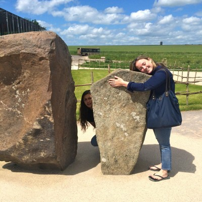 Sydney and Erin express their newfound love for Stonehenge. (PHOTO COURTESY OF BAILEY BARNETT)