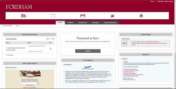 The new my.fordham.edu site. (COURTESY OF BEN MOORE)