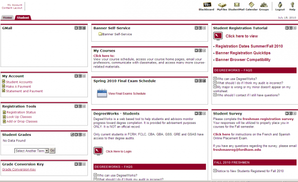 The old my.fordham.edu site. (COURTESY OF BEN MOORE)