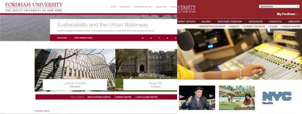 The new and old fordham.edu site side-by-side. (COURTESY OF BEN MOORE)