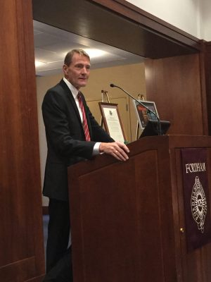 Lee Child, the inaugural Chair of Creative Writing, give a lecture in the 12th floor lounge of Lowenstein. (PHOTO BY ELIZABETH LANDRY/THE OBSERVER)