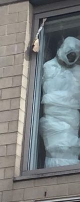 Members of the Fordham Community saw the effigy as representing a lynching, due to its seemingly dark complexion when seen from street level (Photo from Facebook)
