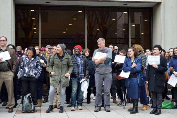 Various members of the Fordham community gathered on the Fordham Lincoln Center plaza for the Sick-In protest on April 19. (ELIZABETH LANDRY/The Observer)