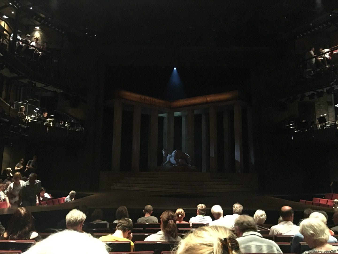 """The darkened stage before the performance of """"Julius Caesar."""" (THOMAS ZACHAR/ THE OBSERVER)"""