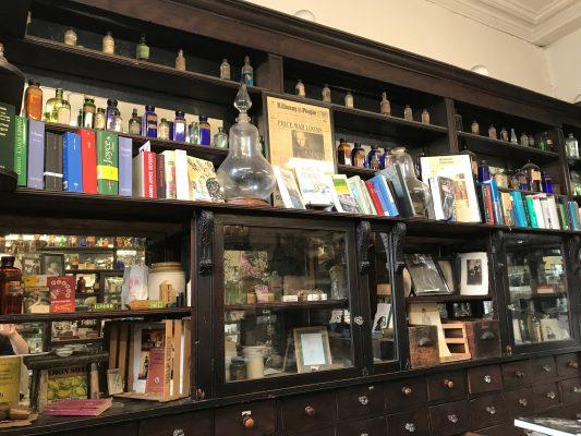 One of the many crowded walls inside Sweny's Chemist shop. (ERIKA ORTIZ/THE OBSERVER)