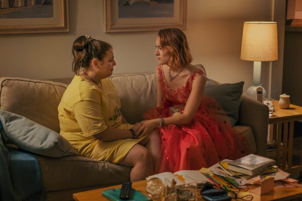 Feldstein and Ronan's real life friendship closely mimics that of Julie and Lady Bird in the film. (Photo by Merie Wallace, courtesy of A24)